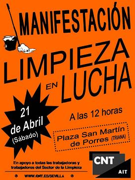 CARTEL MANIFESTACIÓN LIMPIADORAS EN HUELGA