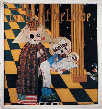 Blalla Hallman, Bůh je láska, 1990, malba na skle